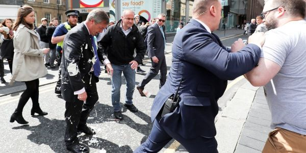 Nigel Farage hit by milkshake protest on Brexit party campaign trail