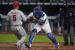 Royals C Perez ends game with pickoff, KC beats Angels 3-2