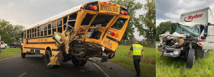 Driver hits back of bus; helps get children out, then collapses and dies, authorities say