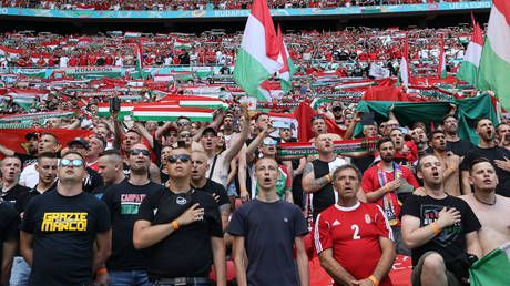 Hungarian fans display anti-kneeling banner in surging protest before France Euro 2020 clash