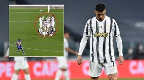 'Covering his pretty face': Ronaldo panned for efforts in wall after he DUCKS to avoid ball as Juve concede free-kick goal