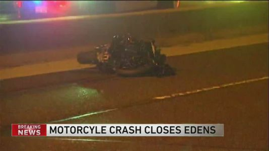 Motorcycle crash closes Southbound lanes on Edens at Glenview Road