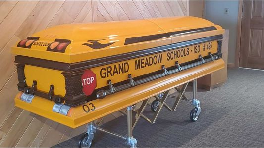 A man who drove a school bus for 55 years will be laid to rest in a school bus casket
