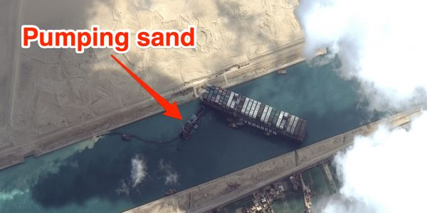 The Ever Given was freed with the help of the Mashhour, a huge dredging ship that moves 70,000 feet of sand an hour