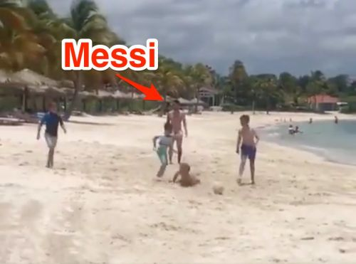 An 11-year-old British boy was invited to play soccer on the beach with Lionel Messi and his son in the Caribbean