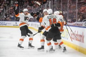 Flyers score twice in third for 5-3 win over Oilers