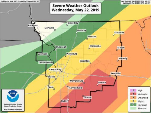 UPGRADED RISK: Areas south of Kansas City now under a moderate risk for severe storms