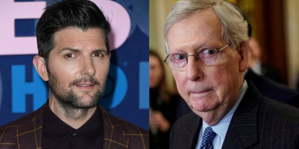 Adam Scott asked Mitch McConnell to stop using his image, and the campaign responded with a 'Parks and Rec' photo of him as the 'ice clown'