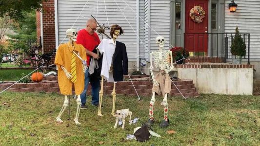 No bones about it: This man's skeleton display the is the Halloween highlight of neighborhood
