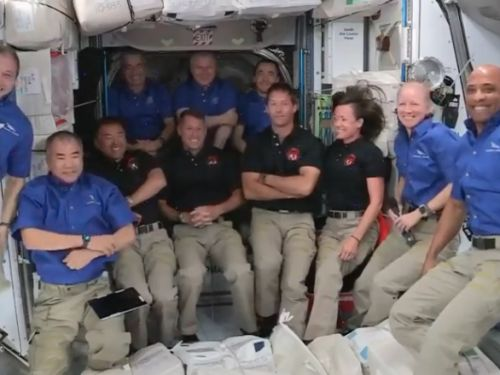 SpaceX's new astronaut flight for NASA has reached the space station, which is now crowded with 11 people