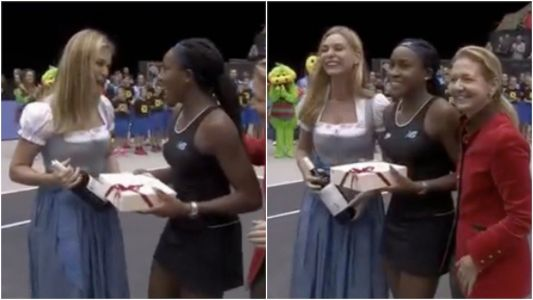 A TV presenter awkwardly handed 15-year-old Coco Gauff a bottle of wine after she won her first WTA title, and she didn't know what to do with it