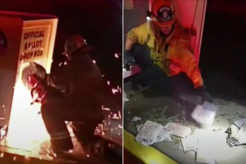 Los Angeles ballot drop-off box catches fire in suspected arson