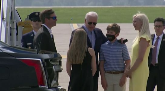 What did President Biden and Gov. Beshear talk about at the airport in Northern Kentucky?
