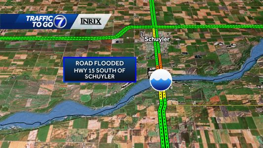 Ice jam flooding closes Highway 15 near the Platte River