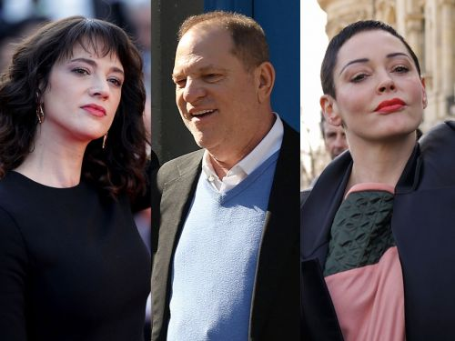 Harvey Weinstein's famous accusers celebrate his 'descent to hell' after he turns himself in to police