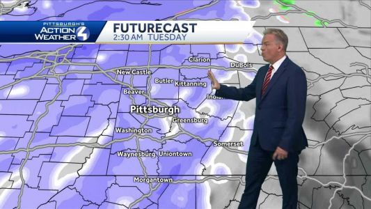 Rain showers transition to snow late Monday night