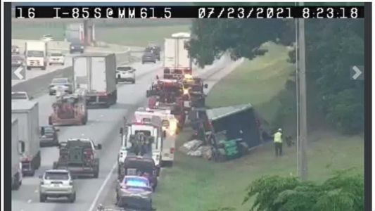 Overturned tractor-trailer on I-85 causes traffic troubles