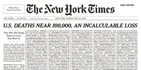 New York Times Publishes Names of People Who Died of COVID-19 on Entire Front Page