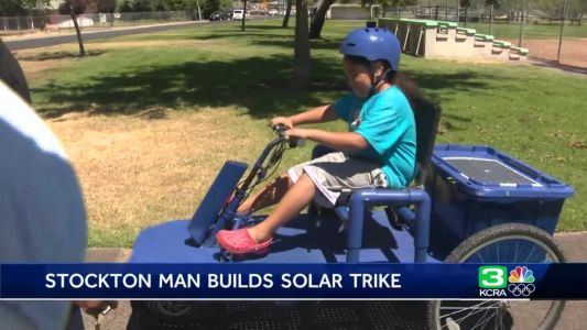 'Never worry about running out of gas': Stockton man builds unique solar-powered trike