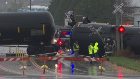 Watch: Train Cars Carrying Ethanol Tumble In Front Of Stopped Cars In Southern Minnesota Town