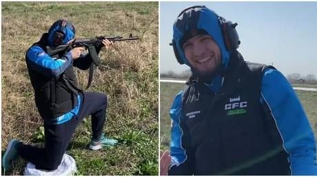 Khabib takes to the firing range as father & trainer Abdulmanap confirms UFC star IS STILL in Russia despite impending lockdown