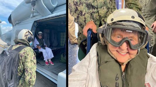 'A lifelong wish': 100-year-old veteran gets ride in Navy helicopter
