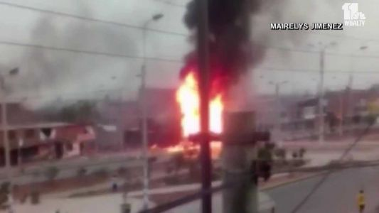 Tanker truck carrying gas explodes in Peru