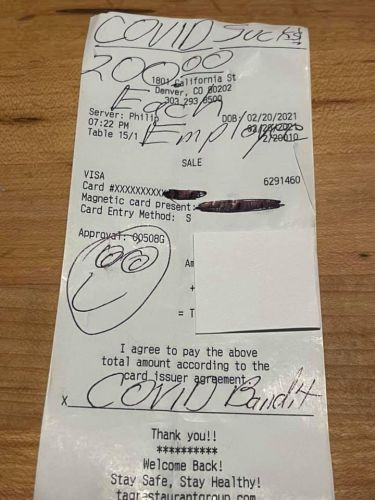 'COVID Bandit' Gives $200 Tip To Every Single Employee At Denver Steakhouse