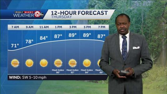 Thursday will be mostly sunny, highs in low 90s