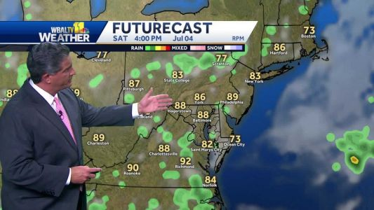 Small chance for isolated thunderstorm for the Fourth