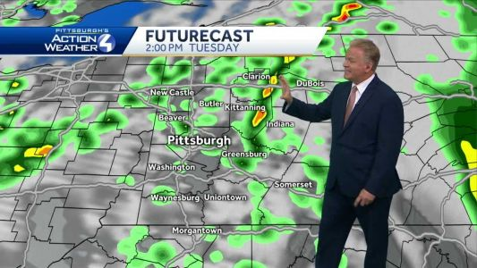 Mostly cloudy skies tonight, scattered showers on Tuesday