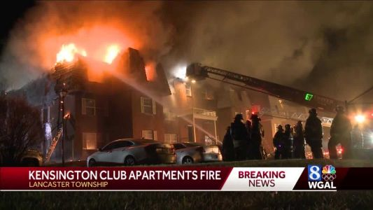Massive fire displaces dozens, partially collapses roof at Lancaster Township apartment complex