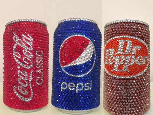 You can buy rhinestone-bedazzled cans of Coke, Pepsi, and Dr Pepper for $70