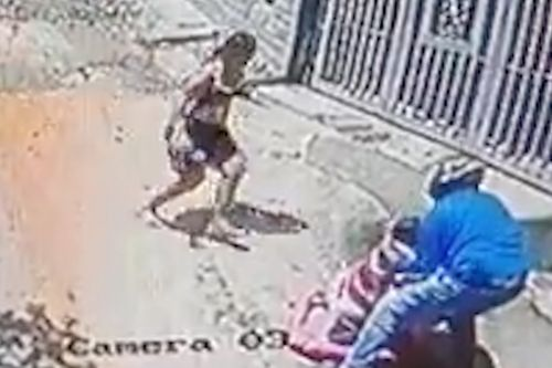 Downhill baby walker caught by fast-acting biker