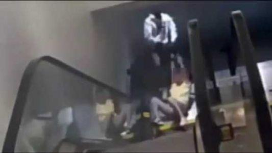 VIDEO: Thief drags woman down mall escalator as he tries to take her purse