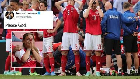 'Please God': Support pours in for Eriksen as fans chant name in stadium after Denmark star collapses at Euro 2020