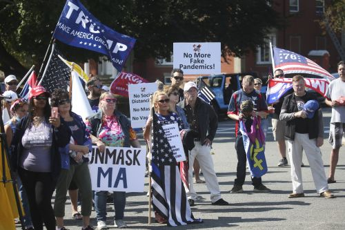 Rally to End Virus Restrictions at Governor Baker's Home