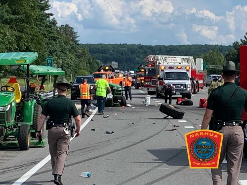 Lawnmower split in two in serious crash on busy highway