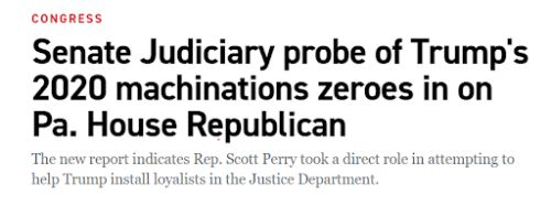 """SENATE REPORT: Scott Perry's """"Direct Role"""" In Attempting To Overturn Election Revealed"""