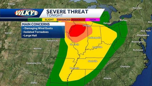Louisville area under slight risk for severe weather late Saturday