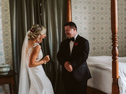 A bride had a 'first look' photo shoot with her brother on her wedding day, and the pictures are going viral