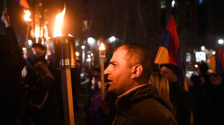 Nationalists stage torch-lit march, demand 'return' of Nagorno-Karabakh amid Armenian political crisis