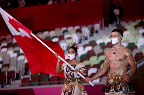 The viral Tongan flag bearer is back at the Olympics