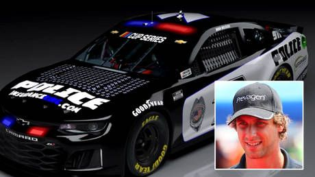 'Blue lives matter': NASCAR fans revive Bubba Wallace racism row as driver unveils fresh car design to honor police killed on duty
