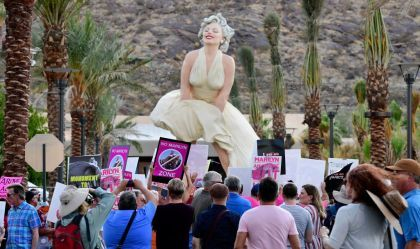 'Exploitative And Misogynistic': Protesters Greet Return Of 26-Foot Marilyn Monroe Statue In Palm Springs