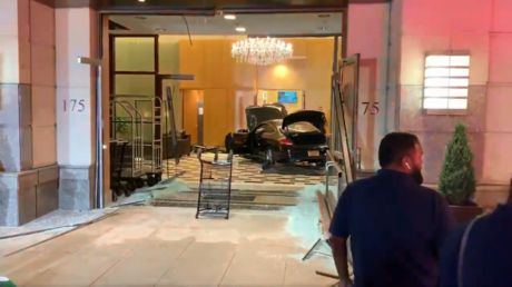 Man plows car into lobby of Trump building in upstate New York, then sits quietly on couch