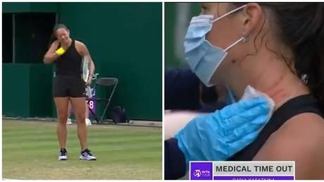 Russian tennis star Daria Kasatkina needs medical timeout after SCRATCHING HERSELF across neck in fit of rage