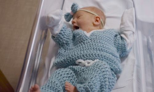 Newborns wear hand-crocheted scrubs to celebrate Nurses Week at UPMC Magee-Womens Hospital