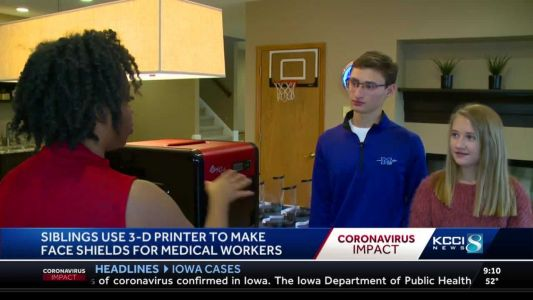 Iowa teen siblings help make PPE for health care workers