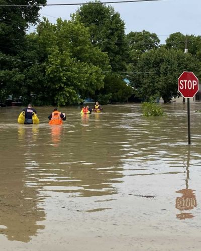 Multiple people rescued after town of Guilford almost completely flooded